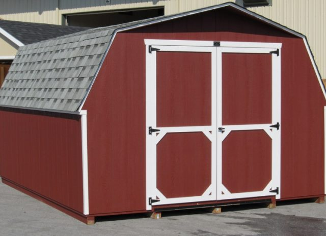 bright red mini barn shed
