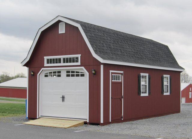 red gambrel single car garage