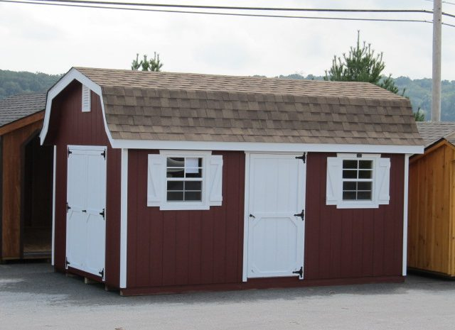 red and white luxury hywall storage shed