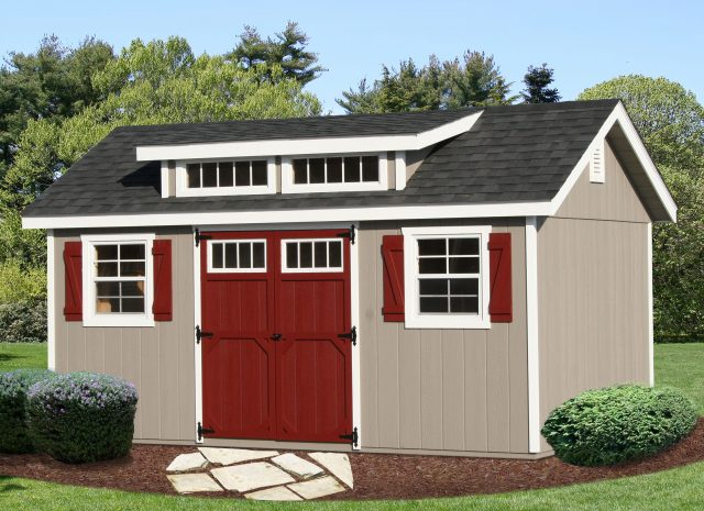 small garden transom shed with tan siding