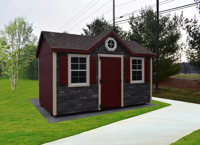 red dormer style storage shed