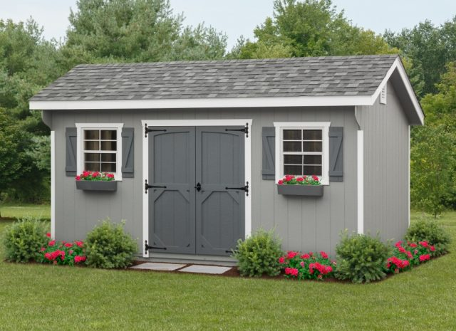 grey quaker style garden shed in a backyard
