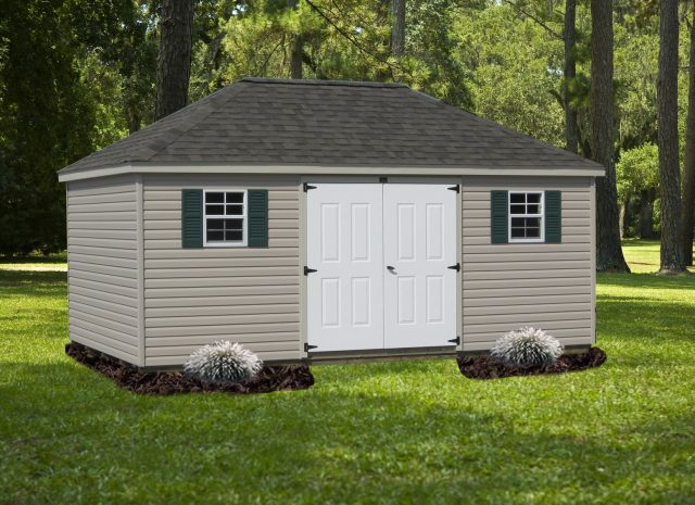 tan and white hip roof style shed