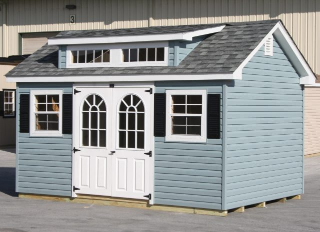 light blue and white small garden dormer shed