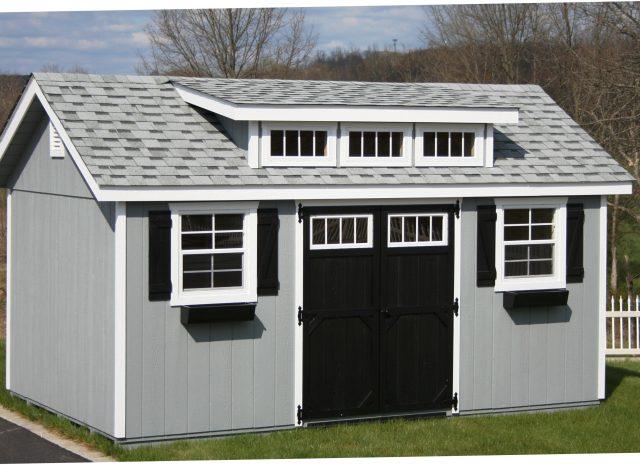 grey and black garden transom dormer shed