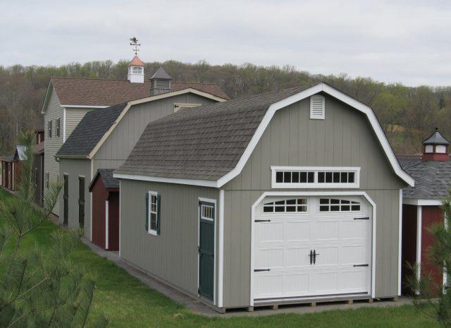 tan gambrel single car garage hand built in pa