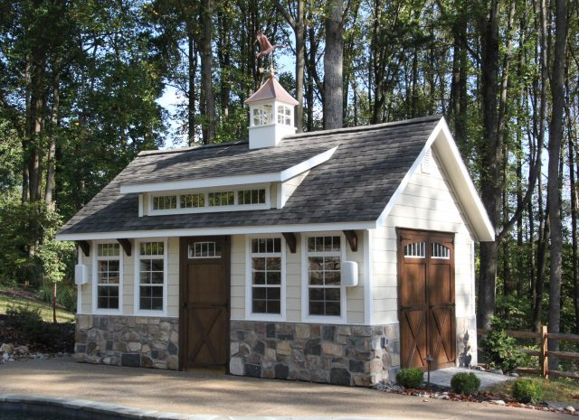 premium storage shed with stone detailing