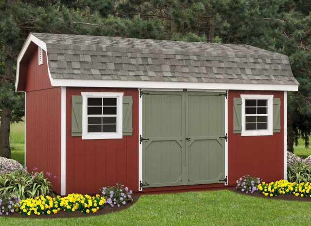 red and green garden hywall shed with double doors