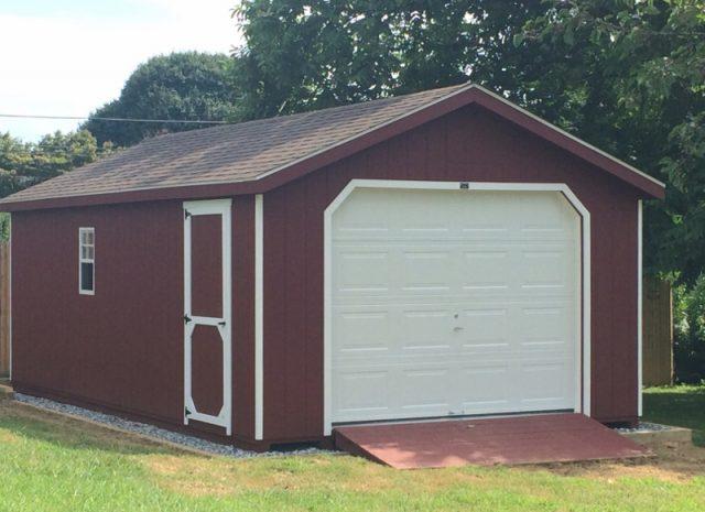 red single car garage in pa
