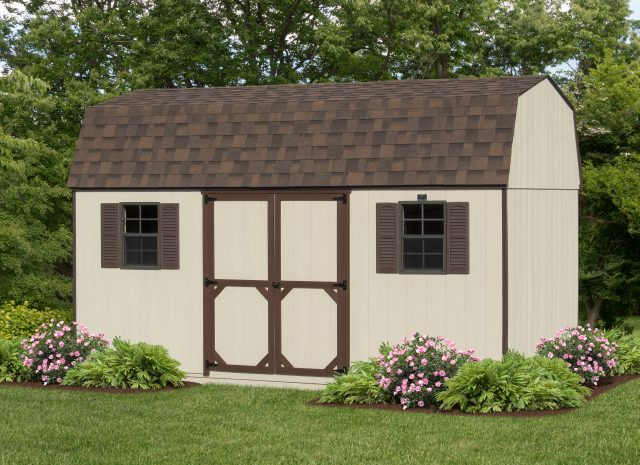 tan and brown hywall storage shed