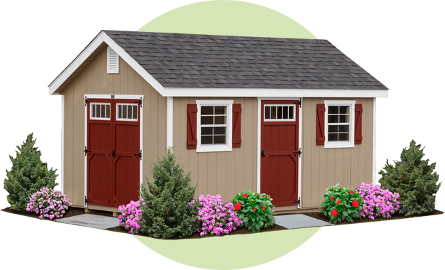 classic tan garden shed with red shutters and door