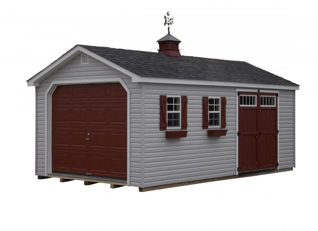 red and grey vinyl single car garage
