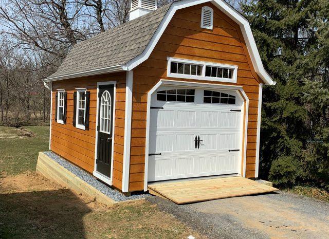 prefab wooden gambrel garage