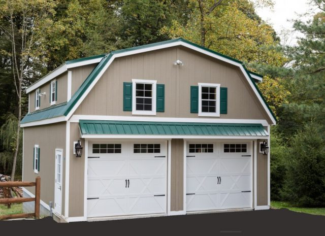 tan and green 2 car garage with apartment