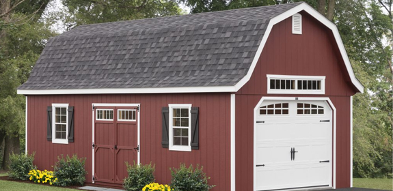 a red highwall prefab shed